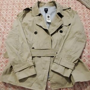 NWT Gap tan short lined trench coat-XL
